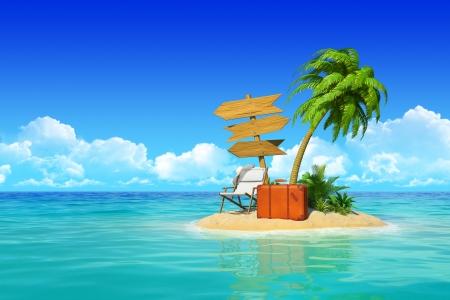 Isla desierta tropical con palmeras, chaise longue, una maleta y tres vacío Concepto señal de madera para el descanso, vacaciones, resort, viajes