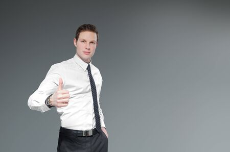 Businessman with thumbs up  Success Idea concept  Stock Photo - 18789004