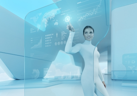 futuristic interior: Future technology touchscreen interface Girl touching screen interface in hi-tech interior Business lady pressing virtual button in futuristic office