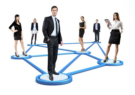 Social network concept  People standing on pedestals connected by lines  Isolated  photo