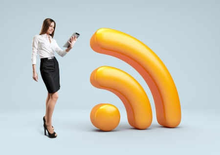 Wifi 3d icon  Businesswoman stand with tablet pc near Wireless network symbol  Banco de Imagens