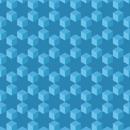 Seamless pattern abstract  Cubes and stars wallpaper  Vector technology background  Ilustração
