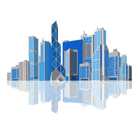 Cityscape  Skyscraper city with reflection on white background  Isolated  Skyscrapers  Business theme  Vector  Editable