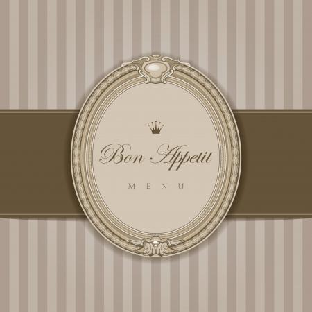 luxo: Menu do vintage com frame elegante Bon Appetit caligrafia estilo retro alta vetor detalhes