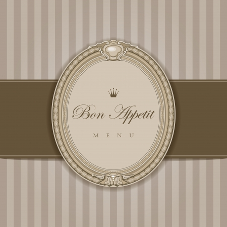 lux: Vintage menu with elegant frame  Bon Appetit calligraphy Retro style  High detail vector