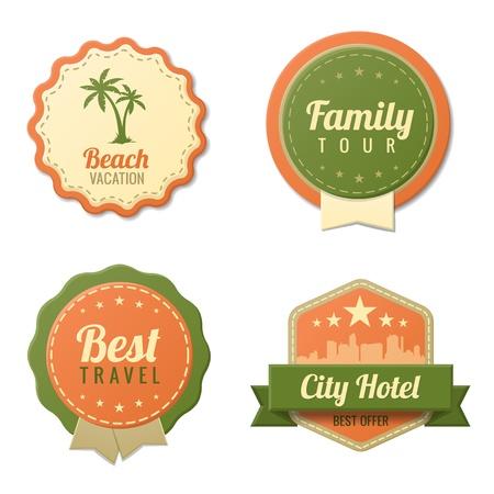 voyage: Voyage Vintage Labels logo modèle collection Tourisme Stickers Retro Beach, visite familiale de style, City Hôtel insigne icônes vectoriel éditable
