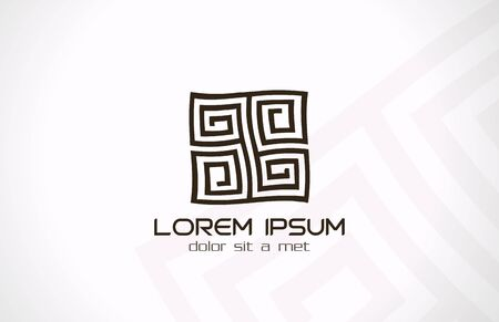 labyrinth: Labyrinth abstract logo template  Puzzle rebus logic  Vector icon  Editable