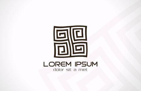 Labyrinth abstracte logo template Puzzle rebus logica Vector pictogram Bewerkbaar