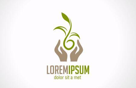 植物を保持手抽象的なロゴのテンプレート緑コンセプト安全考えグリーン スプラウト - ベクトル アイコン編集可能植物の任意の型を指定することが