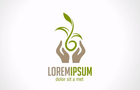 Hands holding plant abstract logo template  Green concept  Safe idea  Green sprout - can be any type of plant Vector icon  Editable