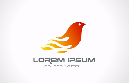 Fire Flame Bird abstract logo template  Phoenix concept  Vector icon  Editable  Ilustração