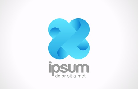 Team concept  Logo Blue loop cross Cycle infinity icon  X Vector
