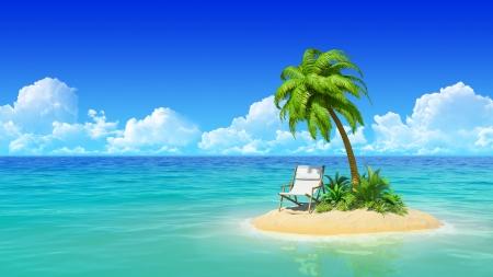 palmeras: Isla desierta tropical con palmeras y chaise lounge Concepto de descanso, vacaciones, resort, viajes