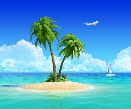 Schoon zand strand op tropisch eiland met palmboom, ook met jacht en vliegtuig op de achtergrond Concept voor rust, vakantie, vakantiepark, reizen, reis-en vakantie