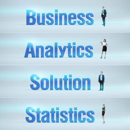 bunner: Business, Analytics, Solution, Statistics   pack of banners with people  man   woman  and word  Businessman or businesswoman stands near big letters  Headers set