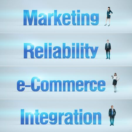 bunner: Marketing, Reliability, e-Commerce, Integration   pack of banners with people  man   woman  and word  Businessman or businesswoman stands near big letters  Headers set