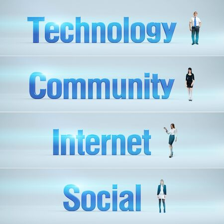 bunner: Technology, Community, Internet, Social   pack of banners with people  man   woman  and word  Businessman or businesswoman stands near big letters  Headers set