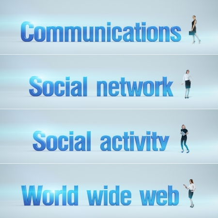 bunner: Communications, Social network, Social activity, World wide web   pack of banners with people  man   woman  and word  Businessman or businesswoman stands near big letters  Headers set  Stock Photo