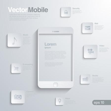 아이콘 인터페이스와 모바일 스마트 폰입니다. 인포 그래픽. 모바일 기술의 우아한 디자인의 개념입니다.