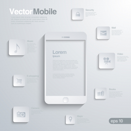 Mobile Smartphone with icon interface. Infographics. Elegant design concept of mobile technology. Ilustração
