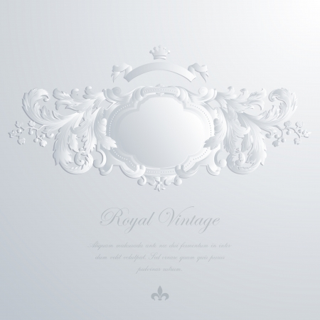Vintage elegant greeting card & Wedding invitation template. Frame with royal ornament. Vector