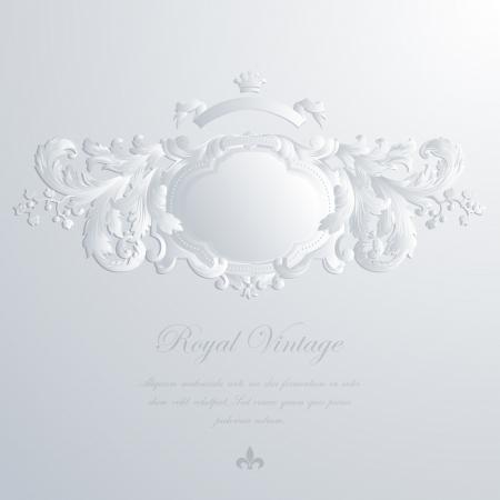 royal wedding: Vintage elegant greeting card & Wedding invitation template. Frame with royal ornament.