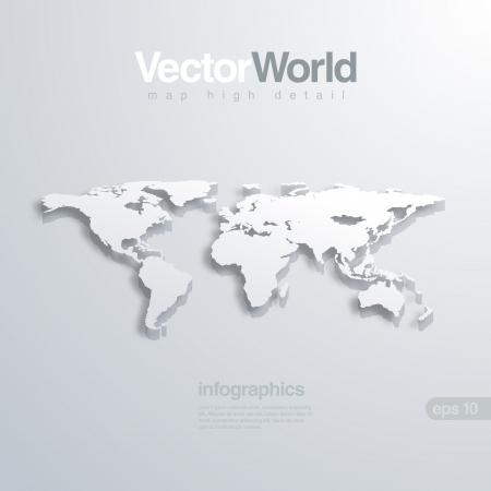세계지도의 3D illlustraion. 인포 그래픽에 유용