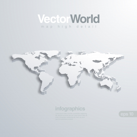 World map 3D illlustraion. Useful for infographics