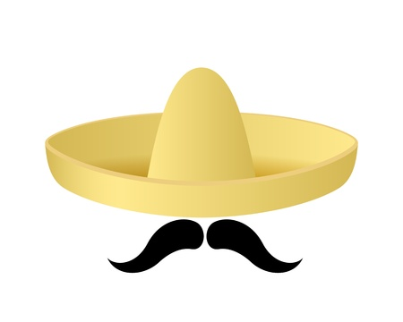 Cartoon sombrero hat with handlebar moustache.