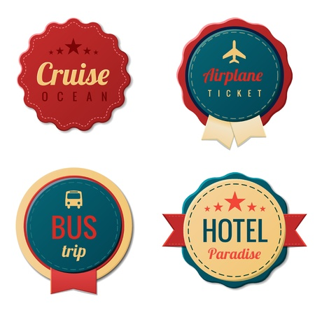 vintage airplane: Tourism Stickers. Travel Vintage Labels template collection.