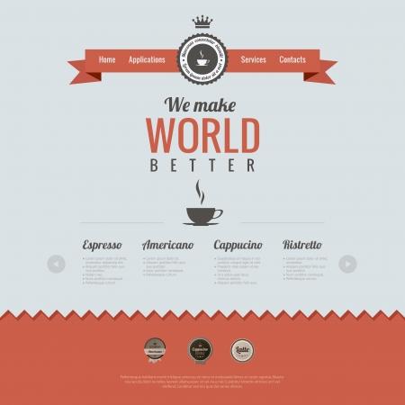 빈티지 웹 사이트 디자인 템플릿입니다. 커피 테마. 복고 스타일입니다. HTML5