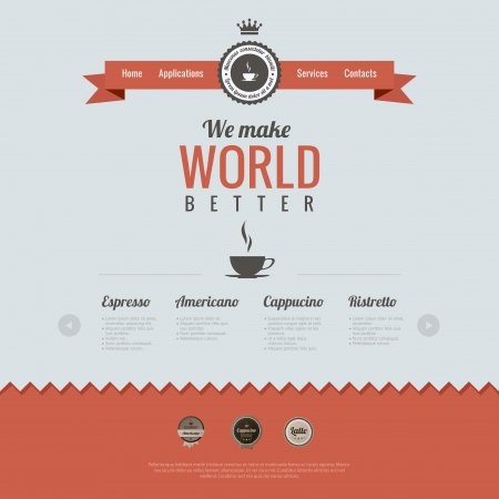 page layout: Vintage website design template. Coffee theme. Retro style. HTML5