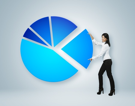 Financial report   statistics  Business woman put sector of pie chart  photo