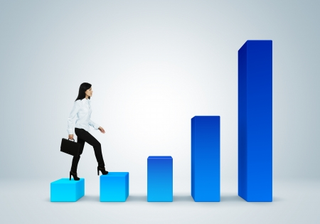 histogram: Financial report   statistics  Business success concept  Climb the career ladder concept  Business woman with suitcase walk up the bar graph  Stock Photo