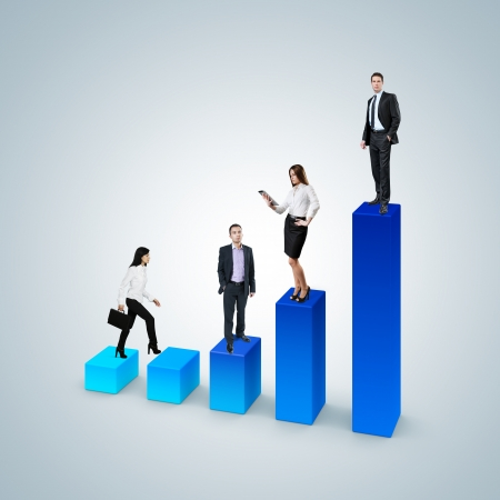 Climb the career ladder concept  Business success concept  Financial report   statistics  Business woman with suitcase walk up the bar graph  Businessman and business woman standing on the bar chart