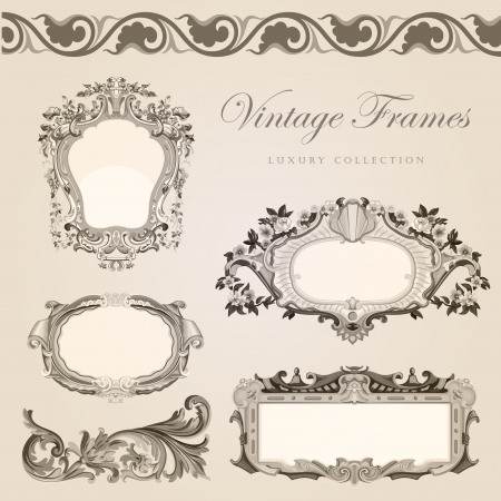 vignette: Vintage frames border  Retro wedding invitation template