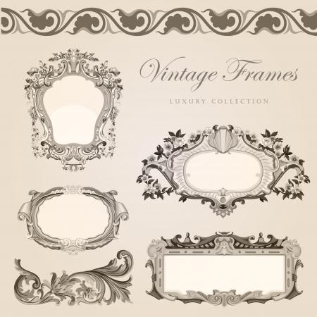 vignette: Vintage frames border  Retro wedding invitation template