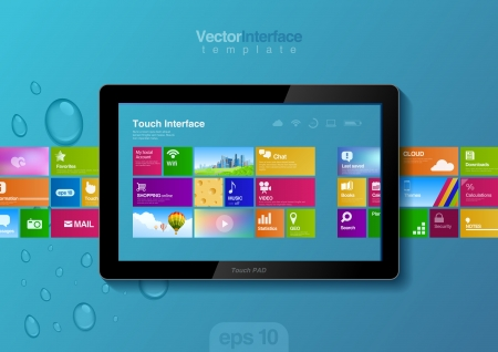 touch pad: Website design template  Tablet pc interface  Touch pad buttons Illustration