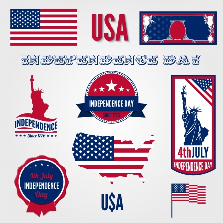 national holiday: USA Independence day design template elements  4th of July celebration symbols  American National holiday signs  Medals, labels, icons, banner, flag, dollar, map  Patriot freedom Concept