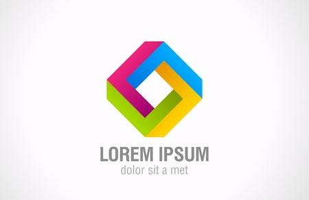 logotipo abstracto: Rhombus Plantilla figura imposible Square abstracta forma de bucle Loop signo Ciclo s�mbolo icono Multicolor