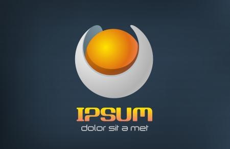 logos negocios: Concepto abstracto de la perla del oro plantilla de Esfera Vectores