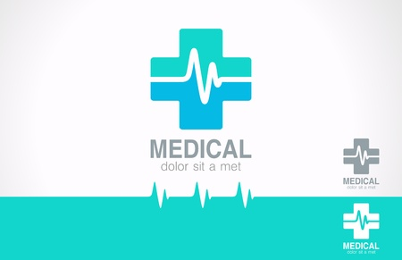 pharmacy icon: Medical pharmacy design template  Medic cross icon with cardiogram