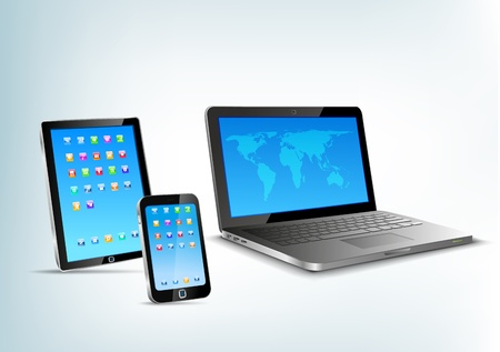 touchpad: Abstract 3d devices  Tablet pc, laptop, smartphone vector perspective view  Notebook, mobile phone, touchpad