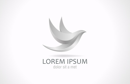 Metal Bird abstract flying logo design template  Steel or Silver symbol icon  Success in your business  Luxury sign