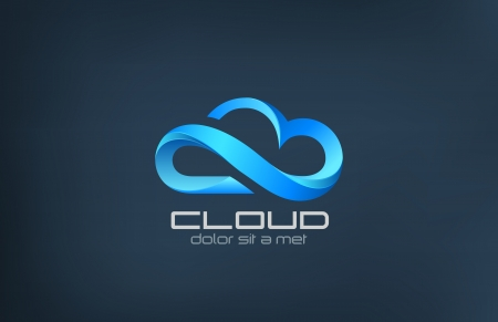 Cloud computing icon vector logo design template  Creative business concept  processing in the clouds service  Technology idea