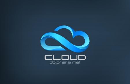 logos negocios: La computaci�n en nube icono vector logo plantilla de dise�o creativo de procesamiento de concepto de negocio en la idea de la tecnolog�a de servicios nubes