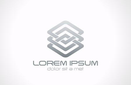 Abstract looped metal business logo vector design template  Business technology loop concept  Infinite shape icon