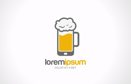 beer in bar: Mobile beer glass pub vector logo design template  Bar cafe concept  Creative idea  Trendy style icon  Editable