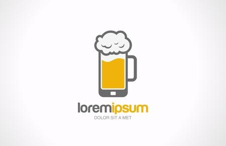 Mobile bierglas pub vector logo design template Bar cafe begrip Creatief idee Trendy stijlicoon Bewerkbare Stock Illustratie