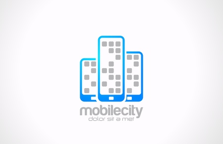 Mobile phones vector logo design template  Mobile city business concept  Touchphones are shown as skyscrapers  Creative idea  Technology icon  Vector